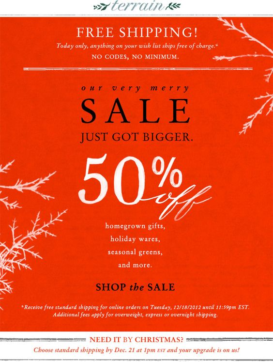 12.18.12 Christmas trees, fresh wreaths, and more are 50 percent off at Terrain.