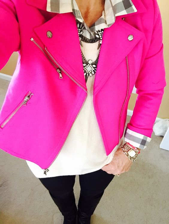 Gap Fuscia Moto jacket, Old Navy plaid and sweater, Bauble Bar Necklace......obsessed with this jacket!