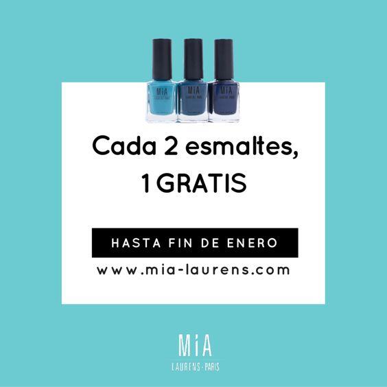 Por cada 2 esmaltes de compra, 1 GRATIS a elegir! Promoción válida hasta fin de mes (enero 2016). Solo en tienda online www.mia-Laurens.com #esmaltes #MIAIs5Free #Manicure