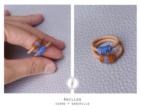 Anillos cuero y ganchillo (Hand made) http://www.facebook.com/pinza.shop