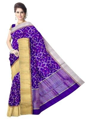 Blue Pure Pattu Silk Handwoven Chanderi Saree Chanderi Sarees on Shimply.com