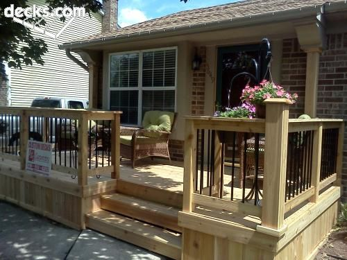 Front Idea Small Porch Railing | Stairs, Custom Rail on this Front ...
