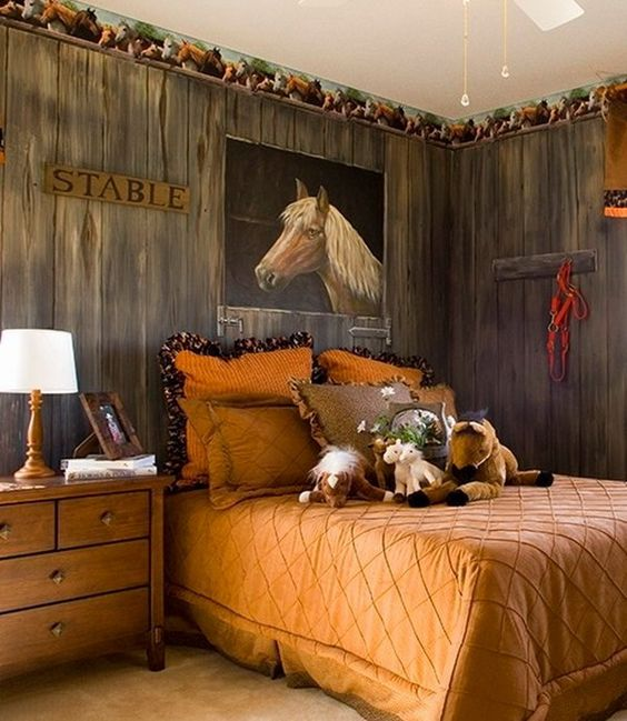 Great horse painted for contemporary kids bedroom murals for Cowgirl themed bedroom ideas