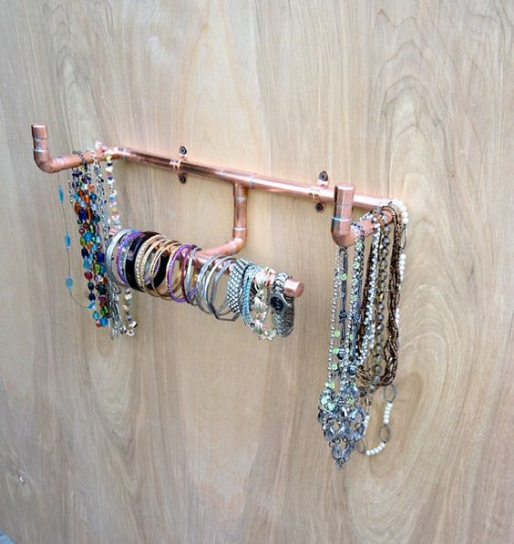 Industrial Jewelry Organizer Wall Mounted Necklace Holder Modern
