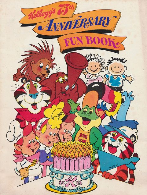 1980 Kellogg's 75th Anniversary Fun Book featuring The Apple Jack Kids, Dig 'Em, Poppy, Snap! Crackle! Pop!, Tony the Tiger, Tony Jr., Toucan Sam and Tusk.