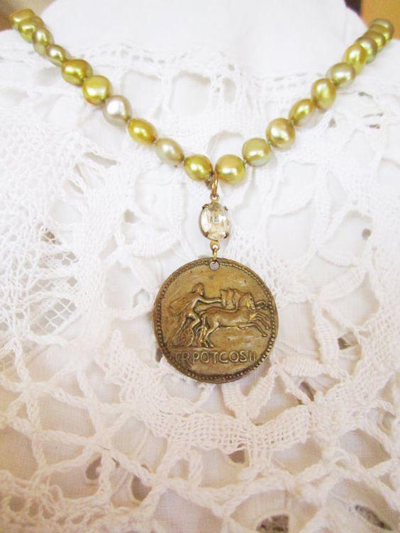 vintage repurposed jewelry necklace italian by atelierparis, $90.00