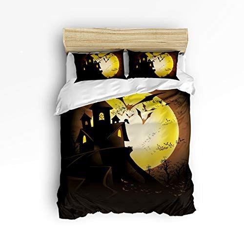 Interhear 3 Piece Bedding Printed Duvet Cover Set Full Happy Halloween Castle Bat Hotel Quality Luxury Plush Duvet Cover Sets Duvet Cover Pattern Duvet Covers