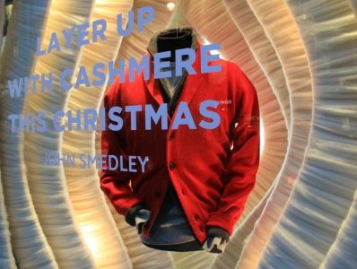 Check out VMSD's annual holiday windows recap! Shown: John Smedley, London. Photography: Tam Lever, Milton Keynes, U.K. (more: http://vmsd.com/content/holiday-windows-2014-4)