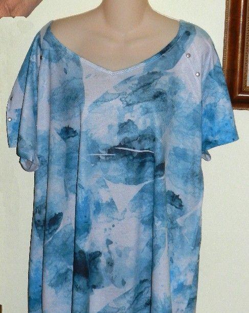 Women's #PlusSize Cato Woman Size 26/28W Blue And White Tye Dye Summer Tee  SALE $9.99 free ship #starchild3
