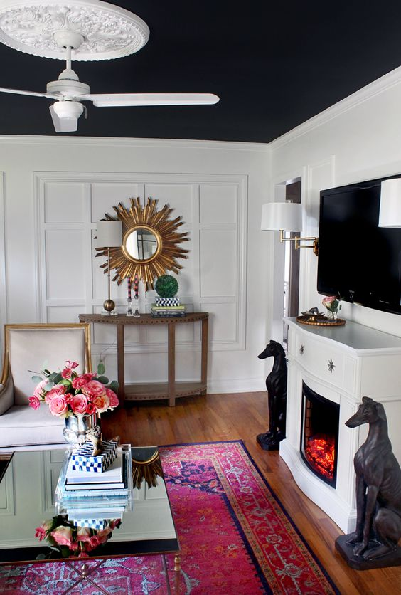 Black ceiling?!? With white walls and my red/pink Persian rug...do I dare?