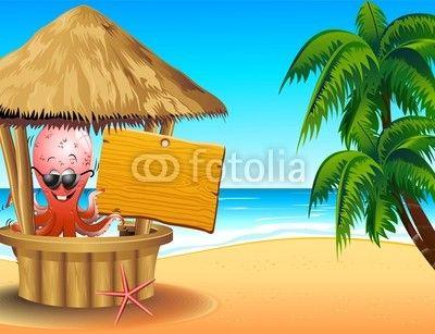 #Funny #Cartoon #Octopus #Barman on #Tropical #Beach © #Bluedarkat - on #Fotolia!