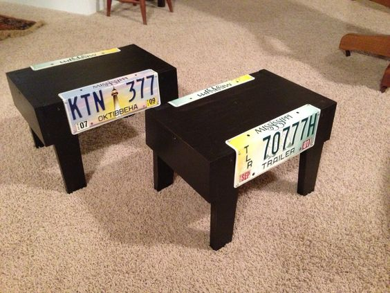License plate furniture made out of sustainable lumber (scrap white pine and red pine). Speaker stands for TV speakers