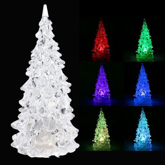 Crystal LED Christmas Xmas Tree 7 Colors Changing Night Light