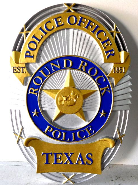 Carved 3 D Wall Plaque Of The Badge Of The Police Department Of Round Rock Texas This And Similar Plaques Of Any Badge Can Be Made Police Badge Police Badge