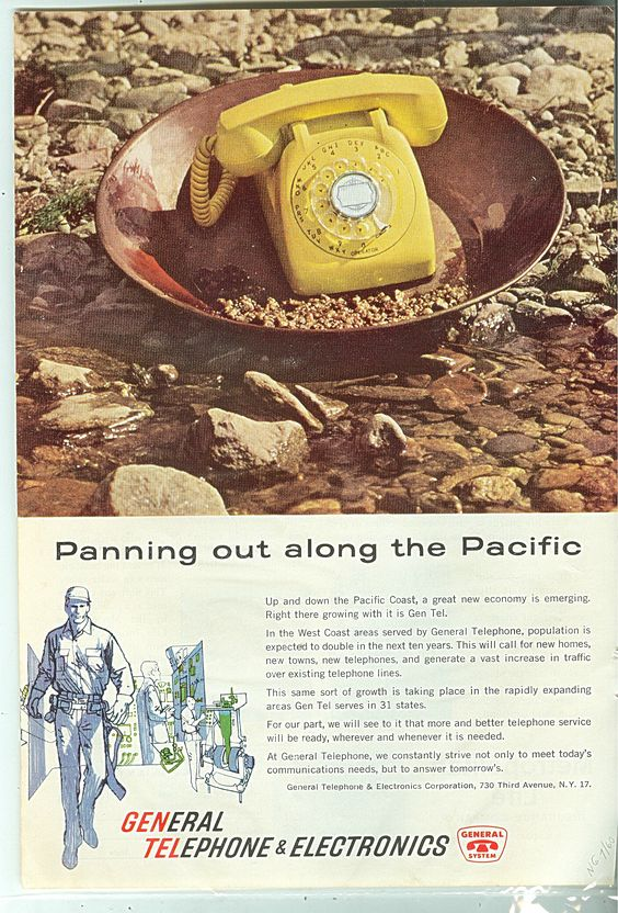 General Telephone & Electronics Ad 1960 Along The Pacif
