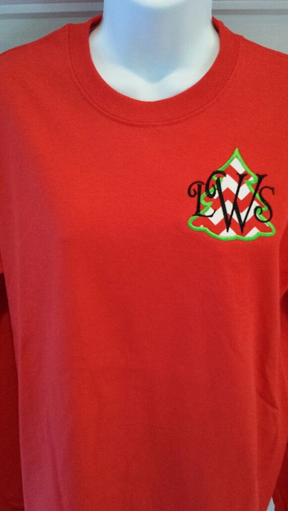 Christmas applique long sleeve tshirt in adult by