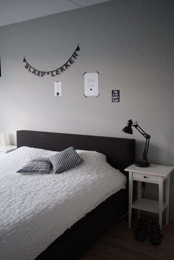 slaapkamer, grijs, wit, zwart, letterbanner  + My home +  Pinterest ...