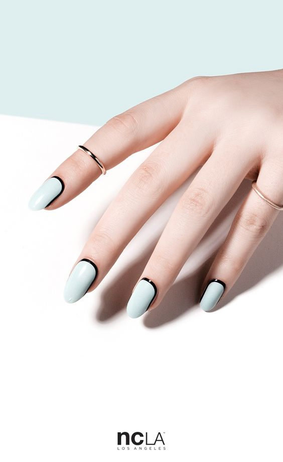 What Dreams Are Made Of nail wraps are a minimal pastel blue nail wrap with black orbit art. Simple but stunning.   NCLA 2016