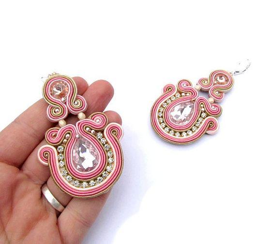 Sparkle Soutache rose boucles d'oreilles roses par StudioGianna