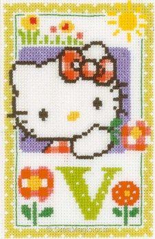 Point de croix hello kitty lettre v - Vervaco
