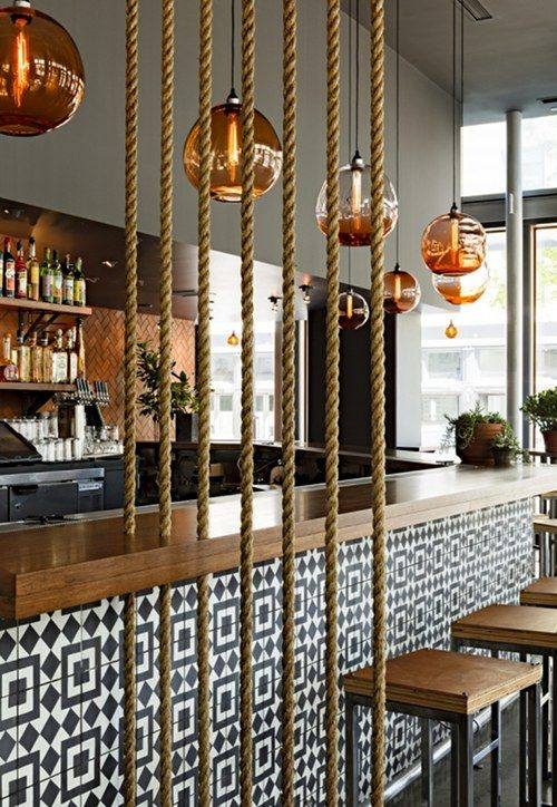 I think I love the lights most of all, but those blue and white tiles and the rope are great too. Jessica Helgerson and her team at JHID in Portland designed the interior of this Mexican restaurant, Corazón.
