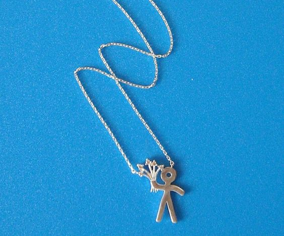 """925 Sterling Silver Zirconia Necklace """"Romeo with flowers"""""""
