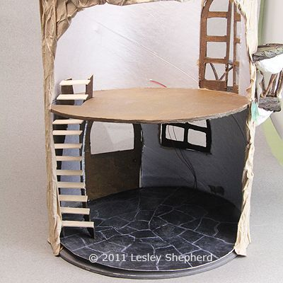 Interior Finishes for a Miniature Mouse House: Test Fit the Stairs and Cut the Floor Opening For the Mouse House