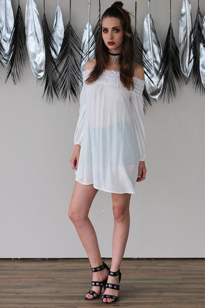 WHITE SMOCKED OFF SHOULDER DRESS - PYLO