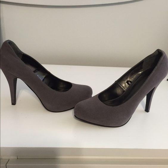 Gray heels Gray suede heels...worn once Shoes Heels