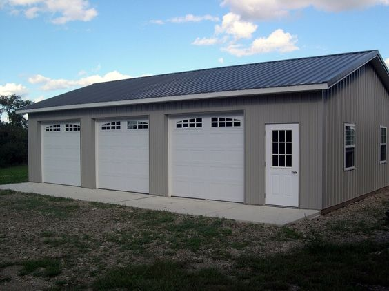 Pole barns pole barn kits and barn kits on pinterest for 3 car garage kits
