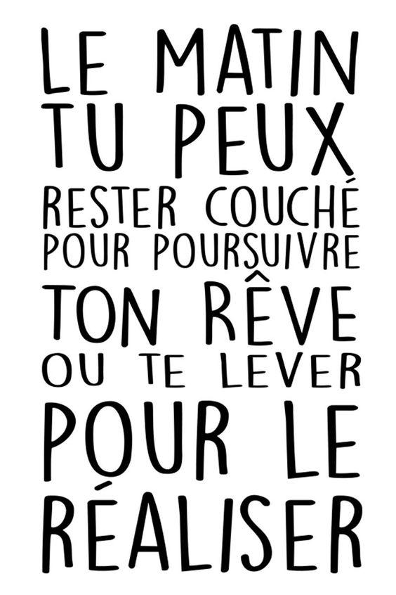 Vente STICKERS / 24345 / Lettrage / Citations en français / Sticker Réaliser tes rêves Noir