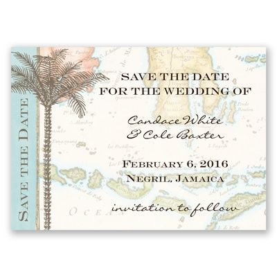 Tropic Travel Save the Date Magnet by David's Bridal #beachweddings #weddinginvitations #beachweddings: