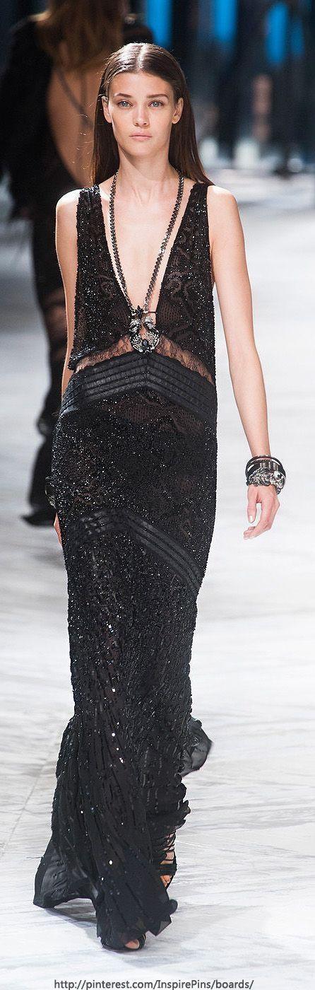 Roberto Cavalli, 2014. Black embellished gown.