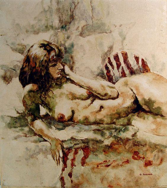 Nude On Zebra Rug Oil On Canvas