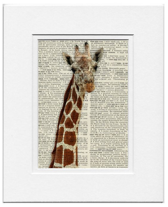 On my wall- portrait  printed on encyclopedia page by FauxKiss on Etsy, $12.00
