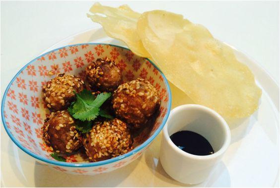 Oriental Meatballs with Hoisin & Pappadums