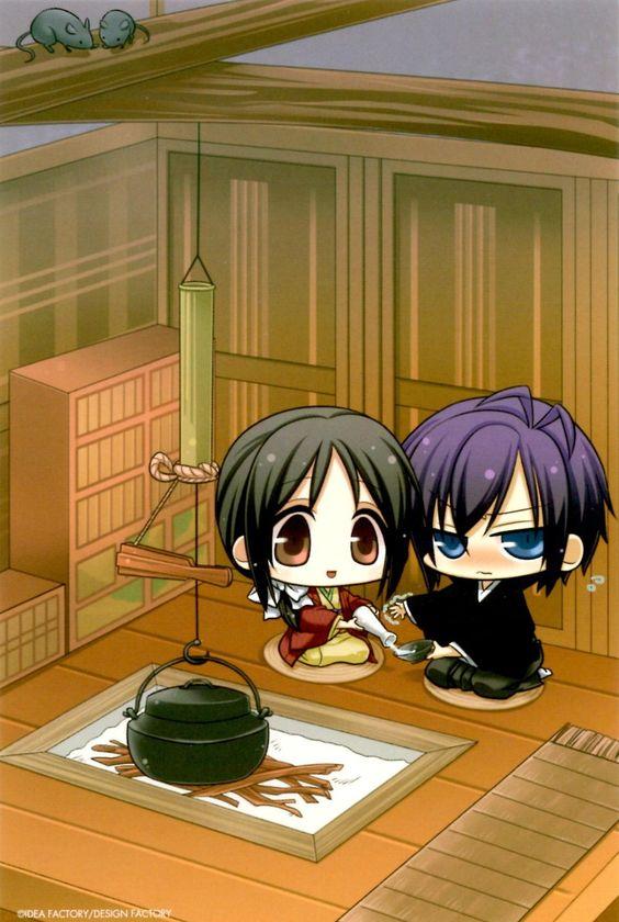 this is adorable, saitou and chizuru from hakuouki