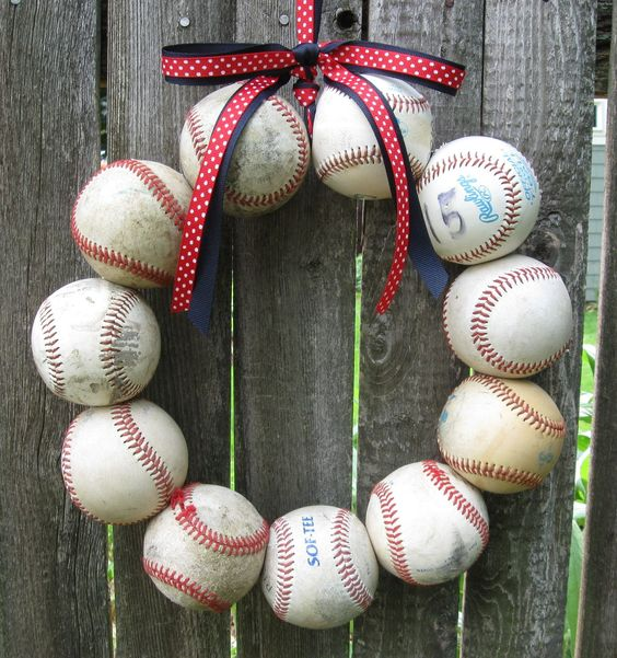 Great idea for baseball party or for all u girls doing sports nurseries... cute to hang on the door @Eva johns
