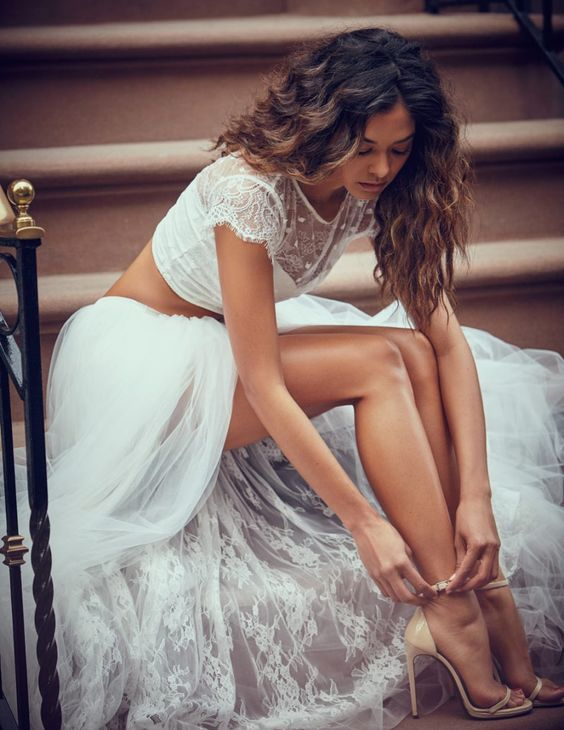 Grace Loves Lace crop top wedding dress with tulle skirt