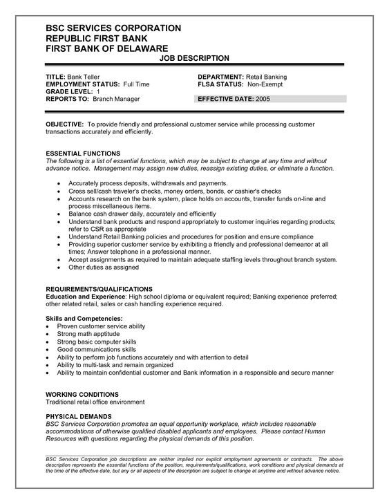 Bank Teller Job Description for Resume -    resumesdesign - teller job description