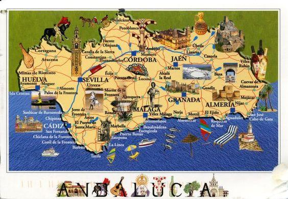 Carte d'Andalousie, plan des 70 principaux lieux