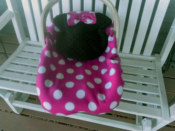 Minnie Mouse Baby Carrier Cover / Infant Car Seat  Carrier Cover Two Layers Fleece Black Minky  Pink Girls by lindasnd on Etsy