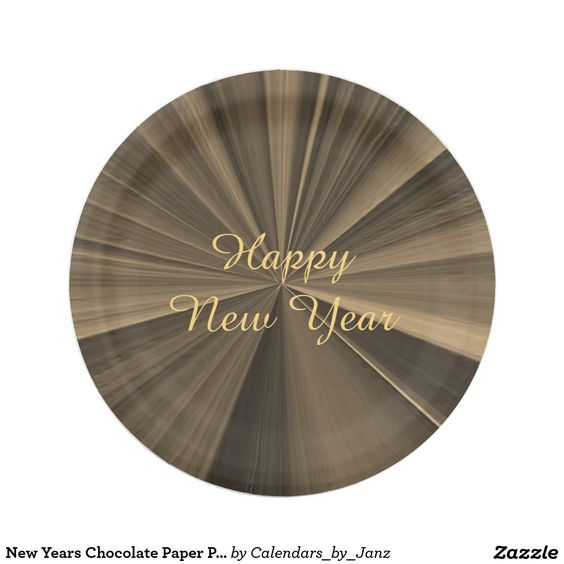 New Years Chocolate Paper Plates by Janz 7 inch