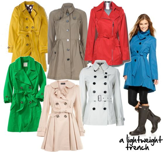 spring wardrobe essential - a lightweight trench...i love the green one