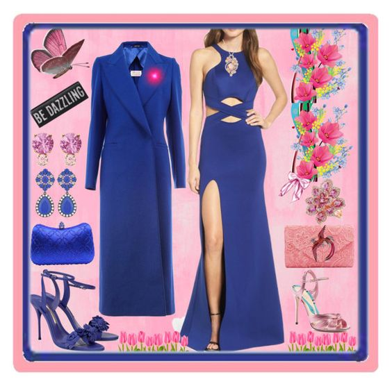 """""""Pink and Royal Blue"""" by sylvia-cameojewels ❤ liked on Polyvore featuring Designers Guild, La Femme, Sophia Webster, Maison Margiela, Gucci, LE VIAN, Anne Sisteron and Jemma Wynne"""