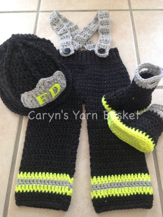 CROCHET PATTERN, 9-12M Size, Baby Firefighter Fireman Hat ...