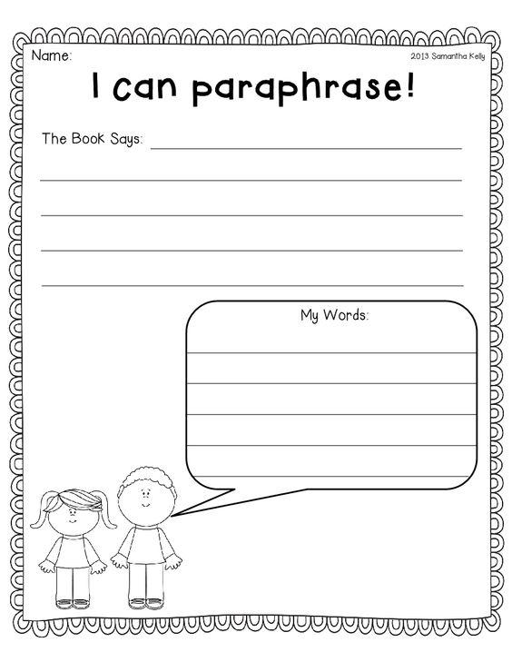 Worksheets on summarizing and paraphrasing