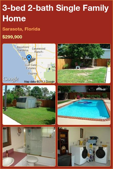 3-bed 2-bath Single Family Home in Sarasota, Florida ►$299,900 #PropertyForSale #RealEstate #Florida http://florida-magic.com/properties/12114-single-family-home-for-sale-in-sarasota-florida-with-3-bedroom-2-bathroom