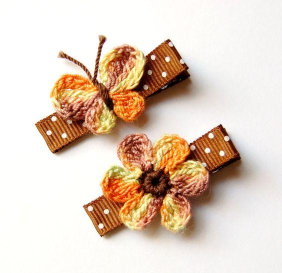 Crochet Hair Clips Pinterest : Crochet hair, Crochet hair clips and Hair clips on Pinterest