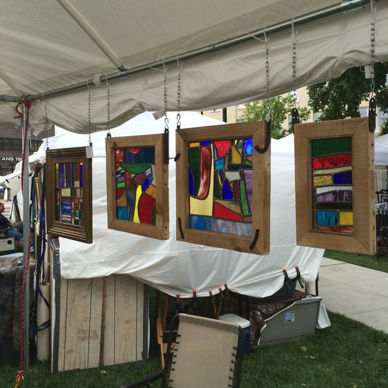 Some of my quilt-inspired glass pieces at Arts In The Park 2014, Decatur IL.